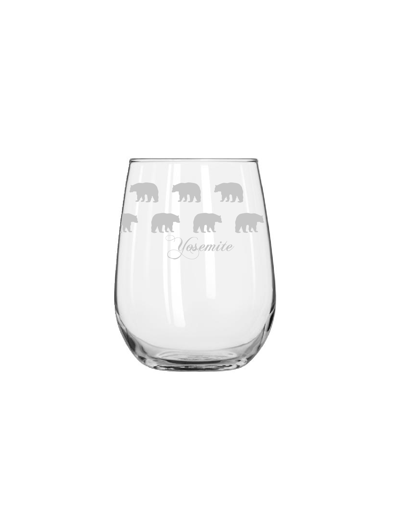 bear silhouette stemless wine glass yosemite online store official online store